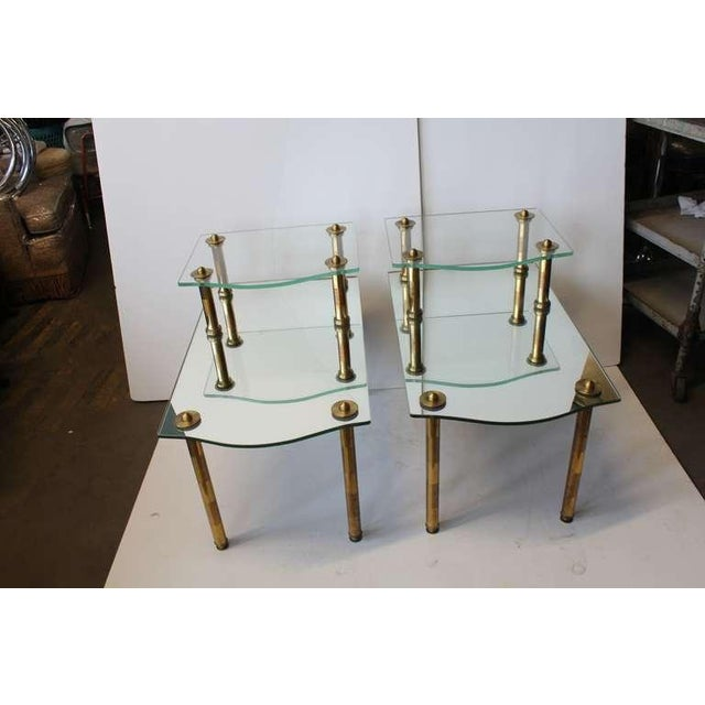 Mid Century Solid Brass Mirrored End Tables- A Pair For Sale - Image 4 of 4