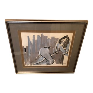 1970s Abstract Figurative Nude Painting, Framed For Sale