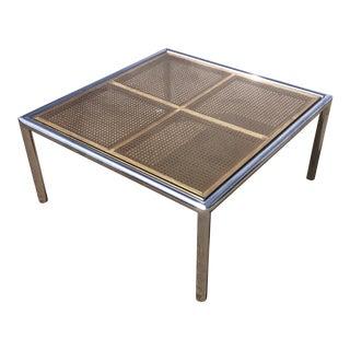 DIA Milo Baughman Wicker & Chrome Coffee Table For Sale