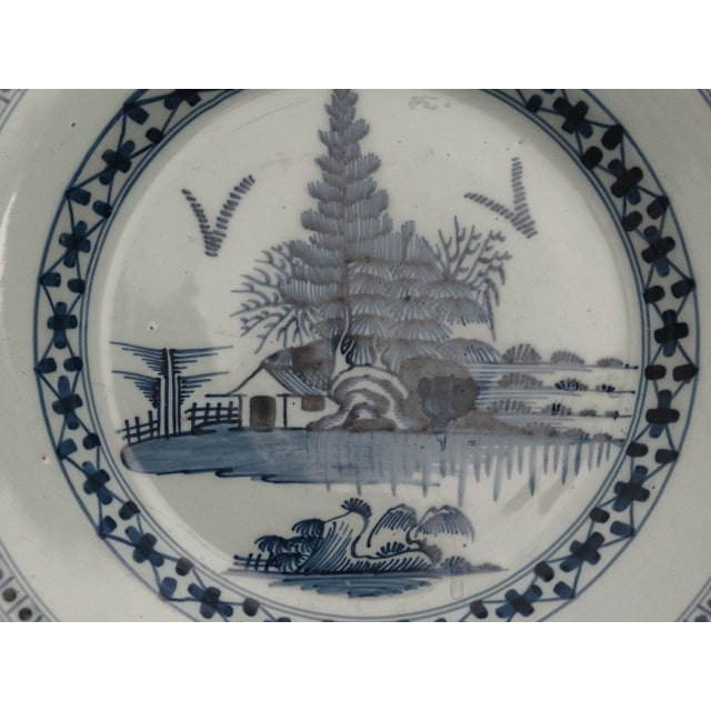 Delft 18th-C Delft Chinoiserie Charger For Sale - Image 4 of 7