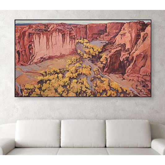 """'Canyon de Chelly Cottonwoods 1' is an oil on heavy weight stretched portrait linen measuring 34""""x 60"""" from my Arizona..."""