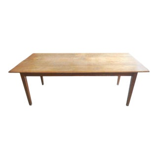 19th Century Rustic Fruitwood Country Farm House Dining Table For Sale