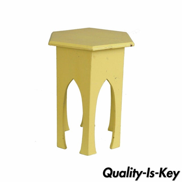 Antique Primitive Rustic Moorish Style Yellow Painted Accent Side Table Arched - Image 11 of 11