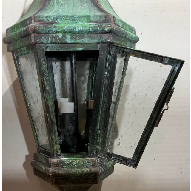 1970s 1970s Solid Brass Verdigris Hanging Lantern For Sale - Image 5 of 13