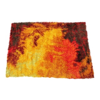Scandinavian Fire Pattern Shag Rya Rug/Ege Rya For Sale