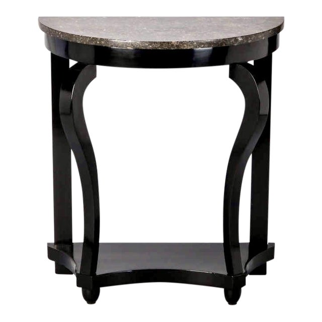 French Demi Lune Ebonised Console with Marble Top - Image 1 of 8