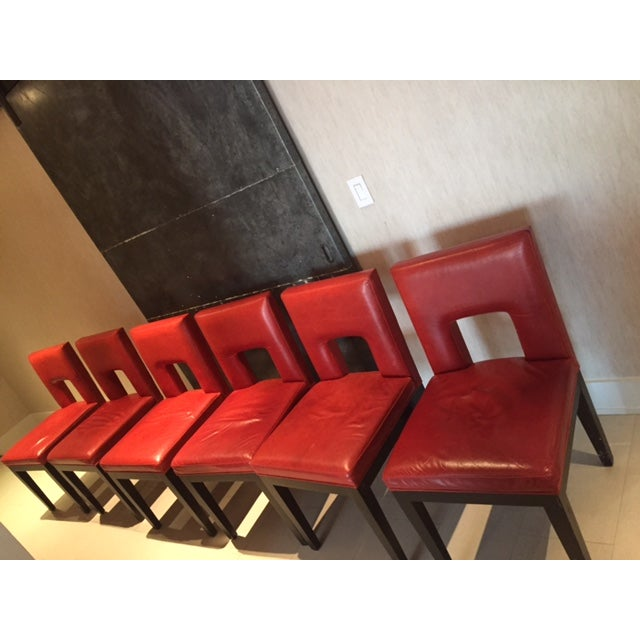 Red Custom Made Dining Chairs - Set of 6 - Image 5 of 8