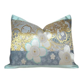 Muted Cherry Blossom Japanese Silk Obi Pillow Cover For Sale