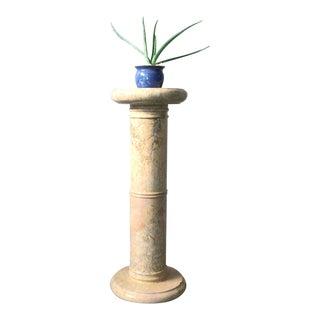 Vintage Hand Carved Vintage Marble Pedestal Column For Sale