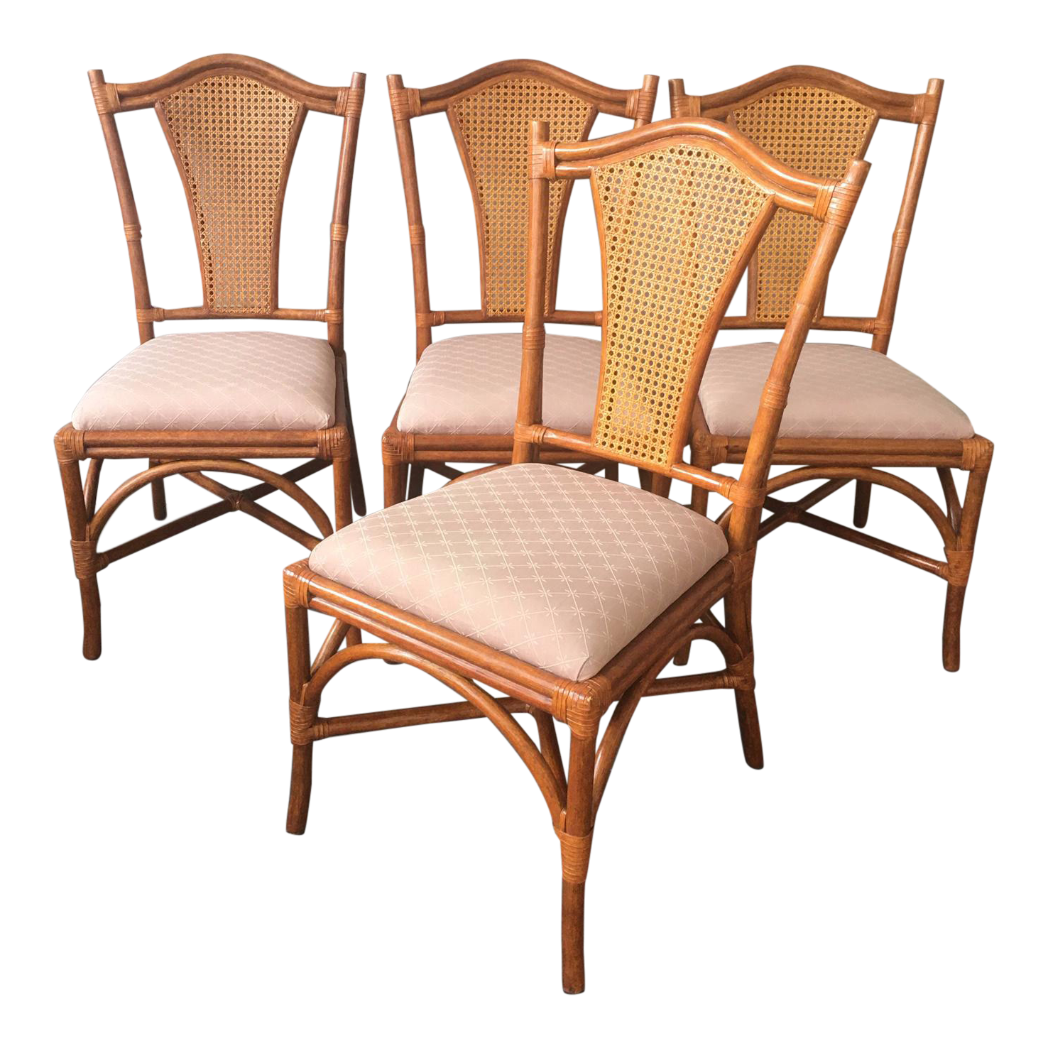 Picture of: Palecek Bamboo Cane Dining Chairs Set Of 4 Chairish