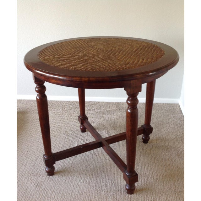 Round Wood Table With Woven Wicker Top For Sale In San Diego - Image 6 of 8