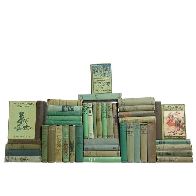 Vintage Green Children's Library, S/45. Forty-five antique and early vintage books featuring a delightful collection of...