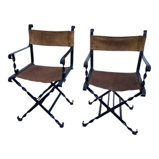 Iron and Leather Fold Up Campaign Chairs - A Pair For Sale