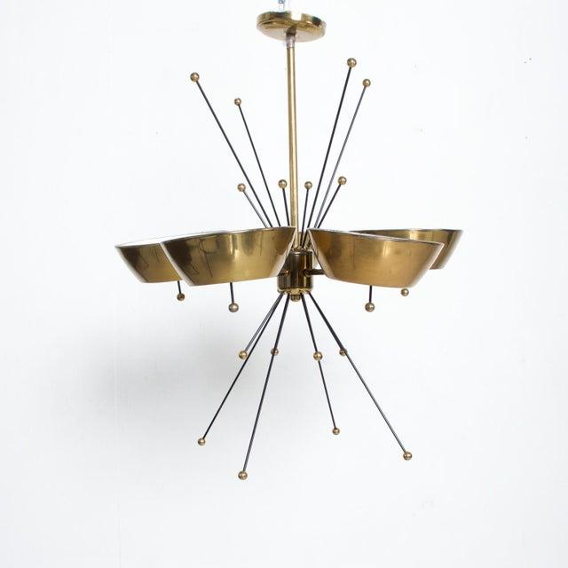 Mid-Century Modern Mid Century Modern Sputnik Italian Chandelier in Brass Paavo Tynell Attr For Sale - Image 3 of 7