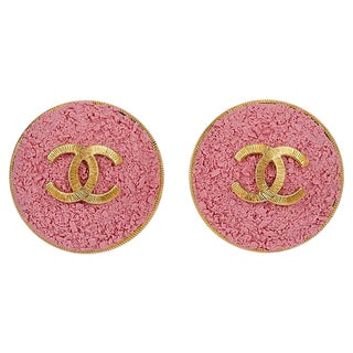 Chanel Oversize Pink Logo CC Earrings For Sale