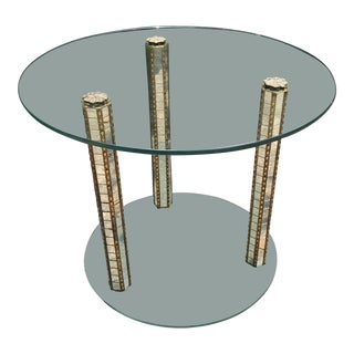 Art Deco Glass and Brass Side Table