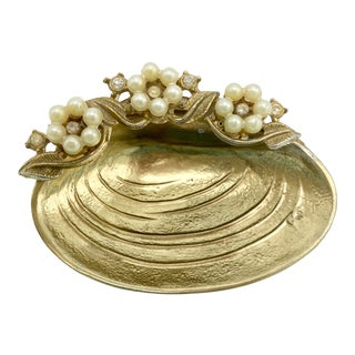 1940s Gold Metal Clam Shell with Pearls Ring Dish For Sale