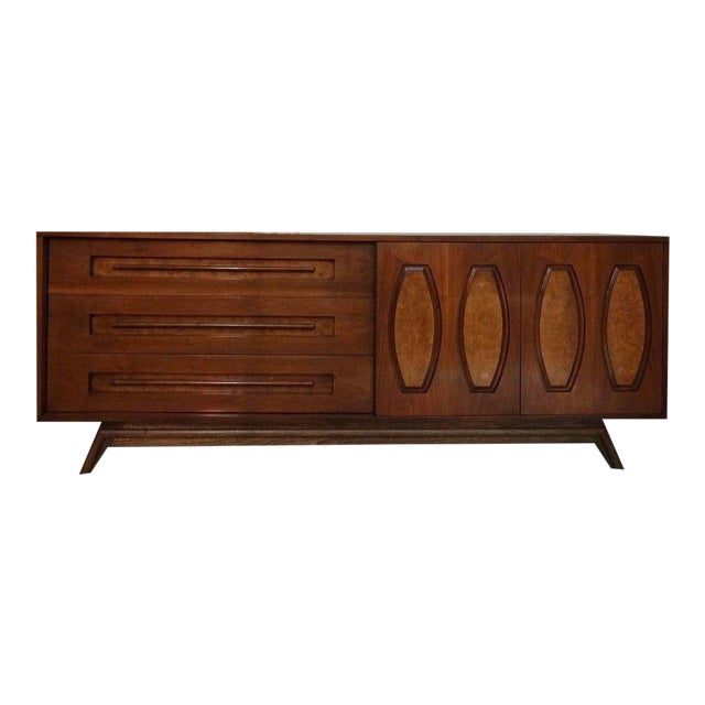 Mid-Century Sculpted Burl Inlay Dresser - Image 1 of 6