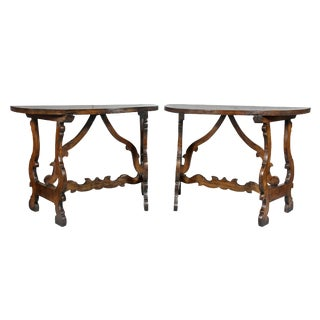 Pair of Italian Baroque Walnut Console Tables For Sale