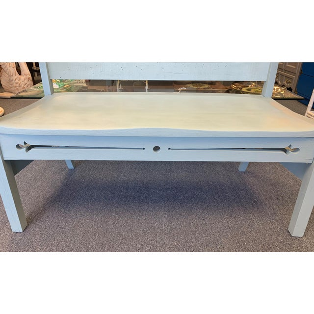 1940s Vintage Farmhouse Chic Solid Oak Bench For Sale - Image 9 of 13