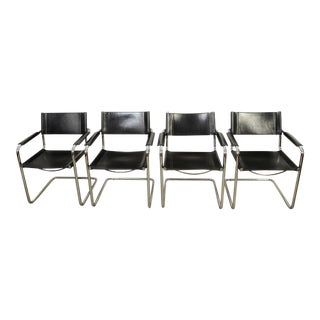 1980s Vintage Matteo Grassi for Mart Stam Bauhaus Leather Mg5 Dining Chairs- Set of 4 For Sale