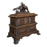 Image of Jewelry Box, 19th Century French Hand-Carved Walnut For Sale
