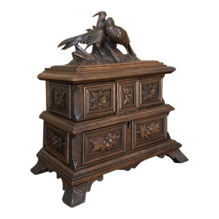 Jewelry Box, 19th Century French Hand-Carved Walnut For Sale