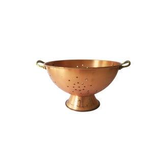 Vintage Large Copper Food Strainer Colander with Brass Handles