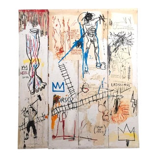 "Jean Michel Basquiat Estate Fine Art Lithograph Pop Art Print "" Leonardo Da Vinci's Greatest Hits "" 1982 For Sale"