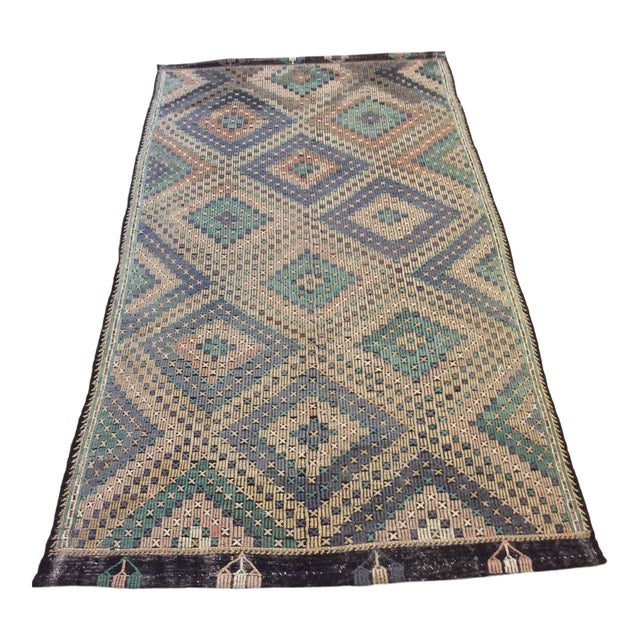 "1960's Turkish Sumac Kilim - 6'x11'6"" For Sale"