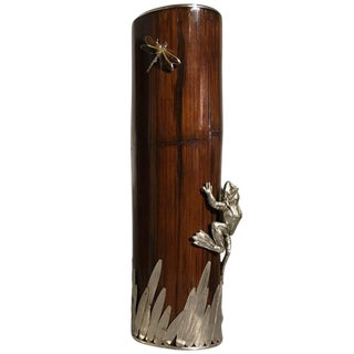Emilia Castillo Style Bamboo and Silver Frog Vase For Sale