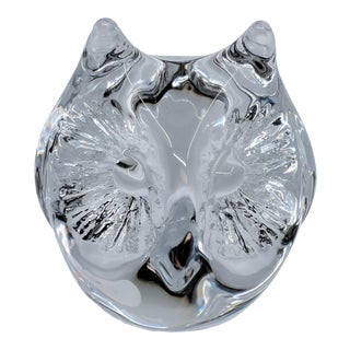 Daum of France Owl Head Glass Crystal Paperweight For Sale