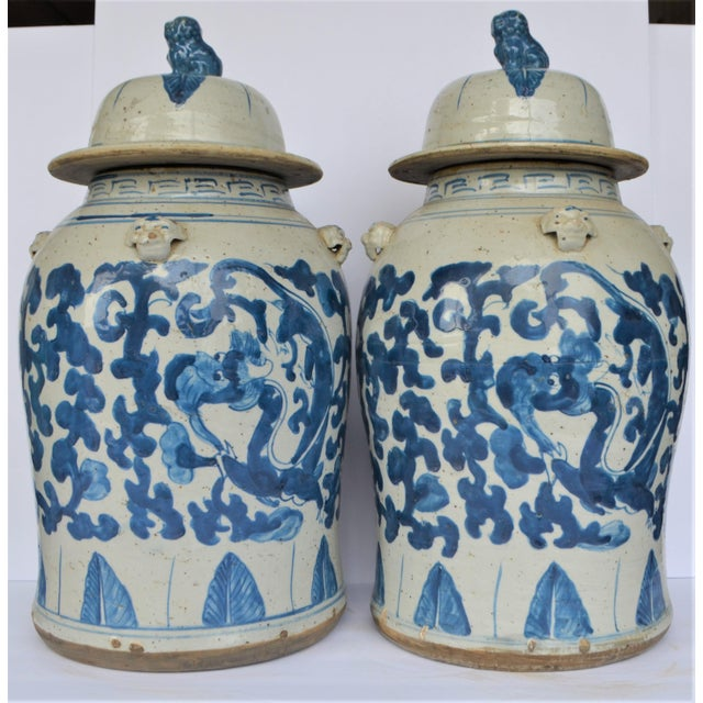 Chinoiserie Blue and White Scroll and Leaf Ginger Jars, a Pair For Sale - Image 4 of 6