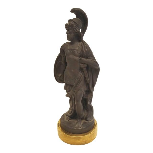 Vintage Mottahedeh Neoclassical Black Basalt Figurine of a Roman Soldier on a Gilt Base For Sale