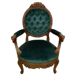 Rams Head French Arm Bergere Chair, Cameo Tufted Back, Circa 1920s For Sale