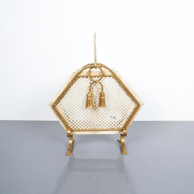 Wrought Iron Magazine Rack Gold White, Germany, Circa 1955 For Sale - Image 9 of 9