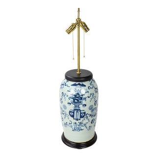 """Bean Celadon Hand-Painted """"Bogu Pattern"""" Porcelain Table Lamp in the Republic of China For Sale"""