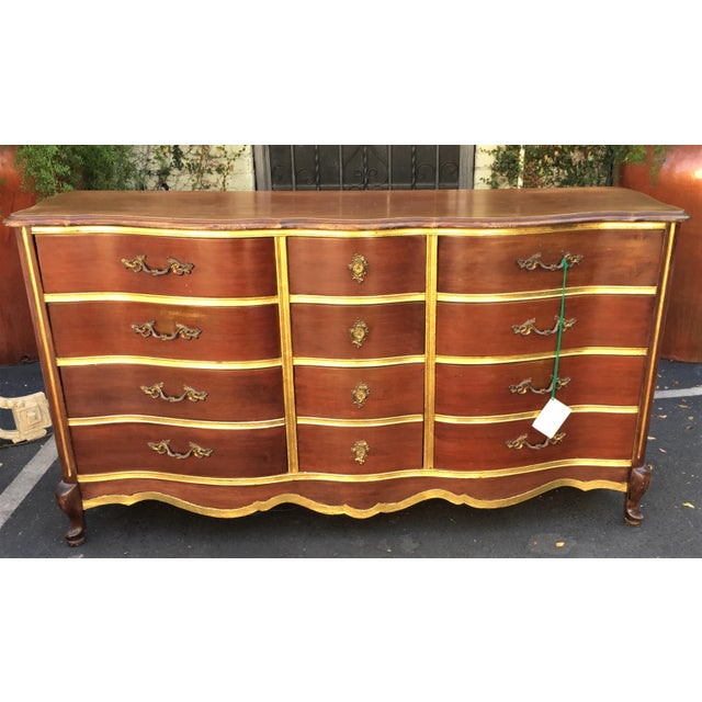 Antique Walnut & Gilt-wood Buffet or Chest of Drawers by Bassett - Image 3 of 4