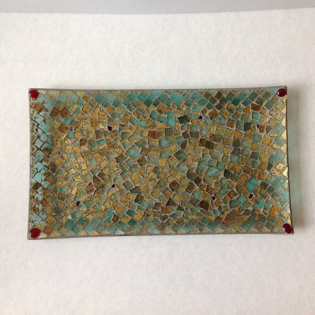 Gold Foil Glass Mosaic Tray - Image 2 of 11