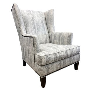 Modern Upholstered Wingback Chair For Sale