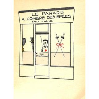 Paris Storefront, French Lithograph, Le Paradis a l'Ombre Des Epees, Guilac 1925, Matted For Sale