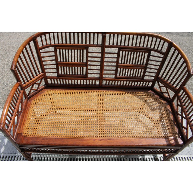 Chinoiserie Vintage Mid Century Bamboo Rattan Pavilion Brighton Chinoiserie Chippendale Caned Settee For Sale - Image 3 of 10