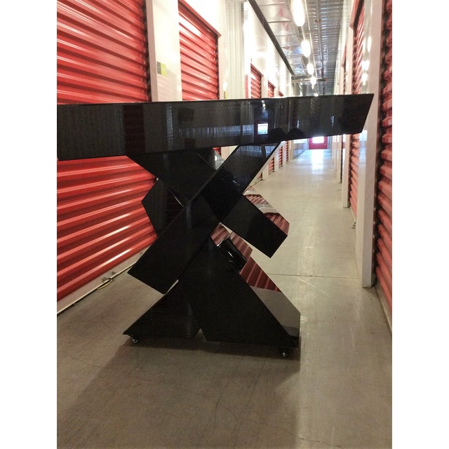 Modern Black Beveled Mirror Console Table - Image 3 of 11