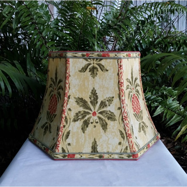 Metal Vintage Pineapple Greeff Fabric Mustard Olive Green and Coral Lampshade For Sale - Image 7 of 11