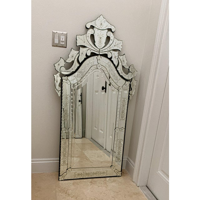 Vintage Venetian Tall Mirror For Sale - Image 9 of 12