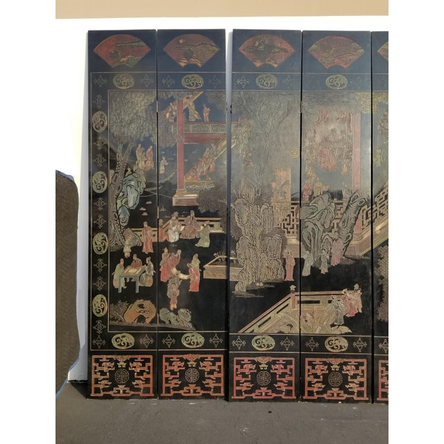 Mid 20th Century 20th Century Asian Chinese Chinoiserie Black Coromandel 12 Panel Screen Oriental Asian For Sale - Image 5 of 12