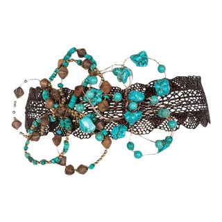 Basha Gold Couture Turquoise Wood Beaded Metal Flower Copper Lace Headpiece For Sale