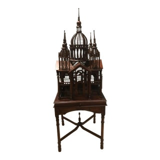 1980s Victorian Style Mahogany Working Bird Cage