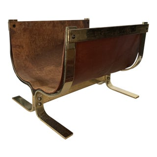 Leather and Brass Log Holder by Alessandro Albrizzi For Sale