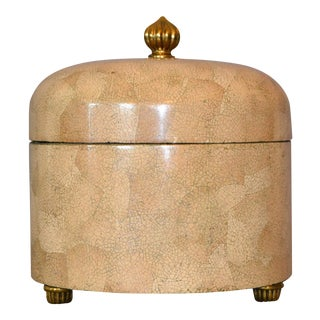 Decorative Maitland-Smith Crackled Eggshell and Brass Box For Sale